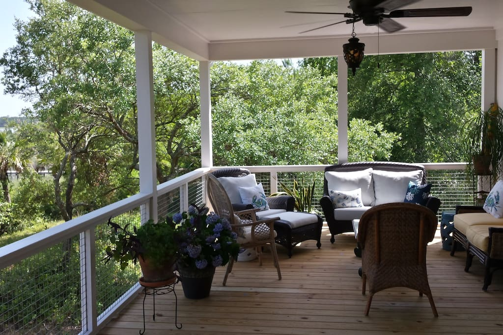 Relax on the porch and take in the river views