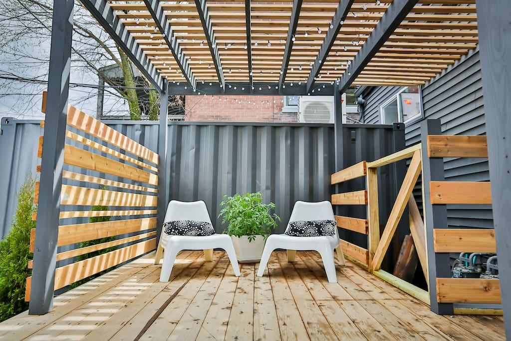 Outdoor patio with pergola, perfect for morning coffee...