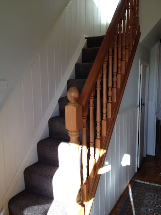 Up the stairs - the handrail helps . . .
