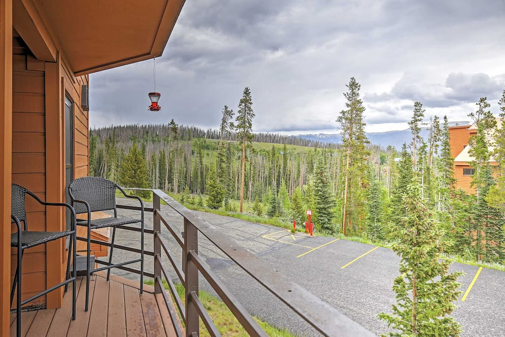 Admire amazing mountain views from the private balcony.