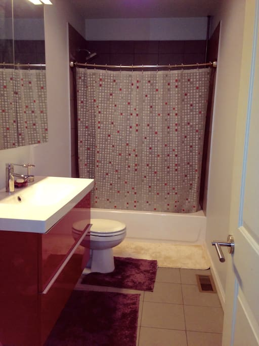 Private bathroom with bathtub, and spray bidet adjacent to toilet (not pictured). Toiletries included by request (no extra charge).