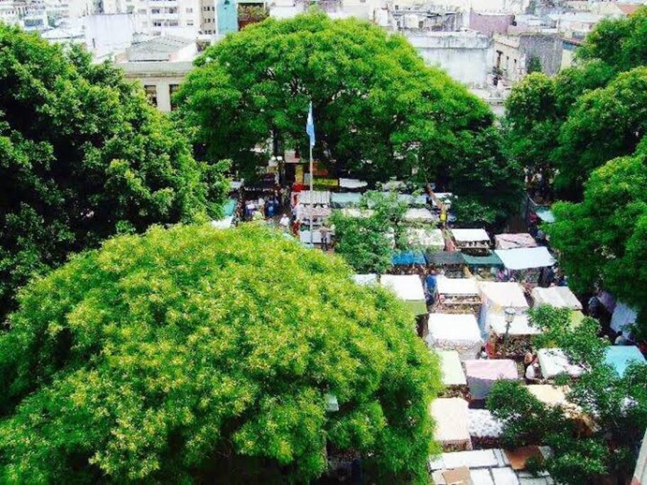 Vista suites  y habitacion Naranja en dia domingo de la tradicional feria de antiguedades