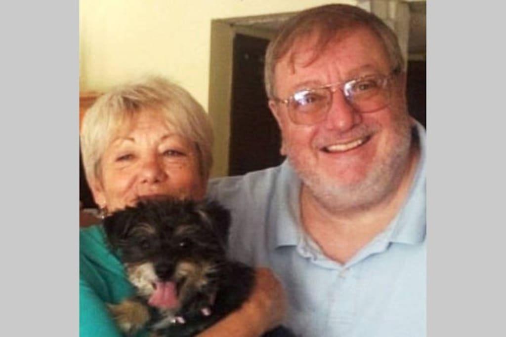 Helen, Rich and Bradie, our little schnauzer