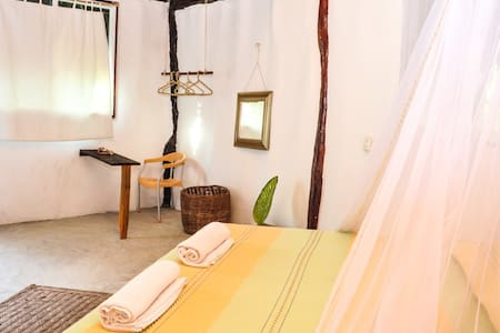 Hello All !  This beautiful cabin it´s located inside My Tulum Cabañas, a beautiful eco touristic resort ideal for families, couples and young travelers.  The property has direct access to the beach and it offers breakfast included in the price.