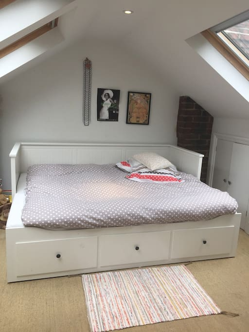 The bed is a lovely comfy pull out sofa bed with firm mattresses.  It can be stored away to a sofa during the day for extra daytime space.