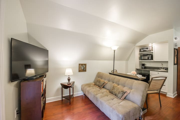 """Living room area with large futon that folds down into a bed. 48"""" TV with Directv, CD / radio player, books, magazines and family games."""