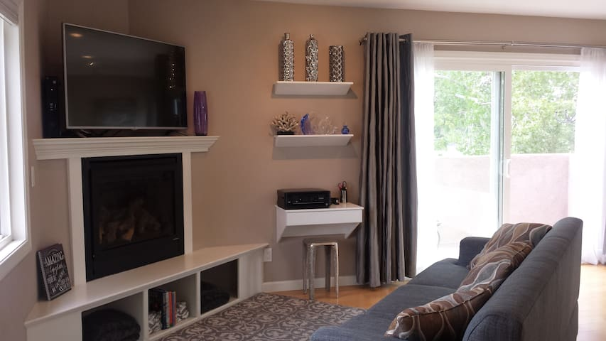 Fireplace, large screen TV (DVD/Blu-Ray, Netflix, premium movie channels, etc), and mini office with printer.