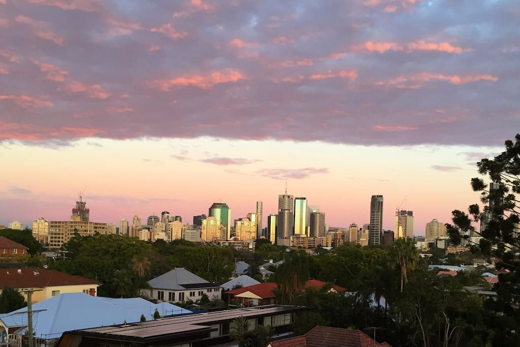 Sunrise looking toward Brisbane's CBD from the kitchen