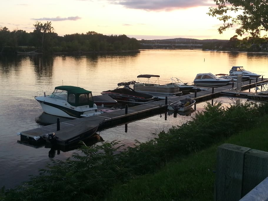 Boat dock beside house