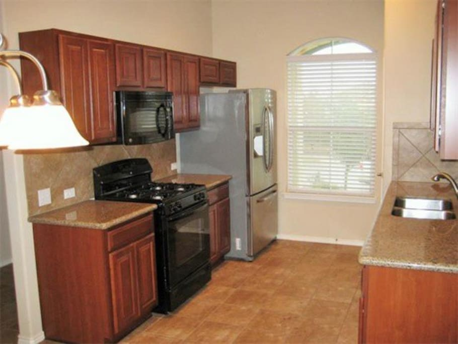 Full kitchen with gas stove