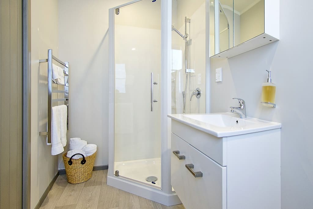 Ensuite bathroom with stand alone shower.