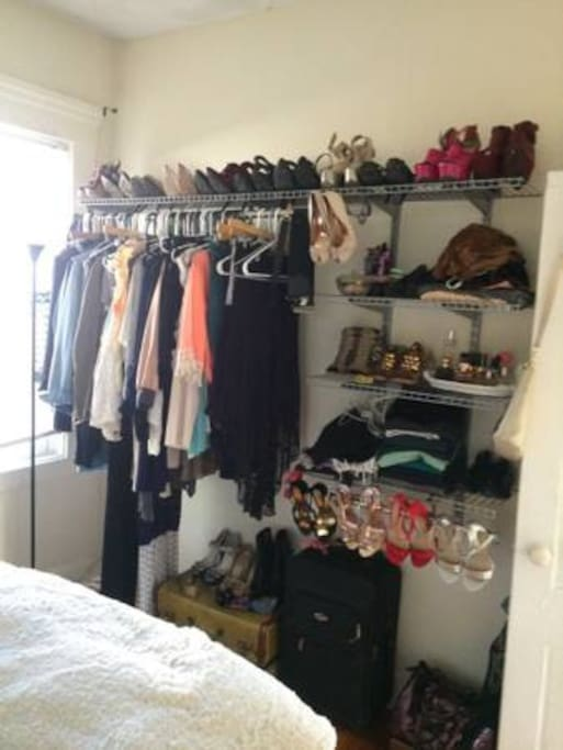 built in wall unit closet will be cleared to store your belongings