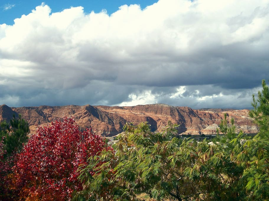 Here you can see the VIEW of Snow Canyon from the Wyoming Room Private Balcony!