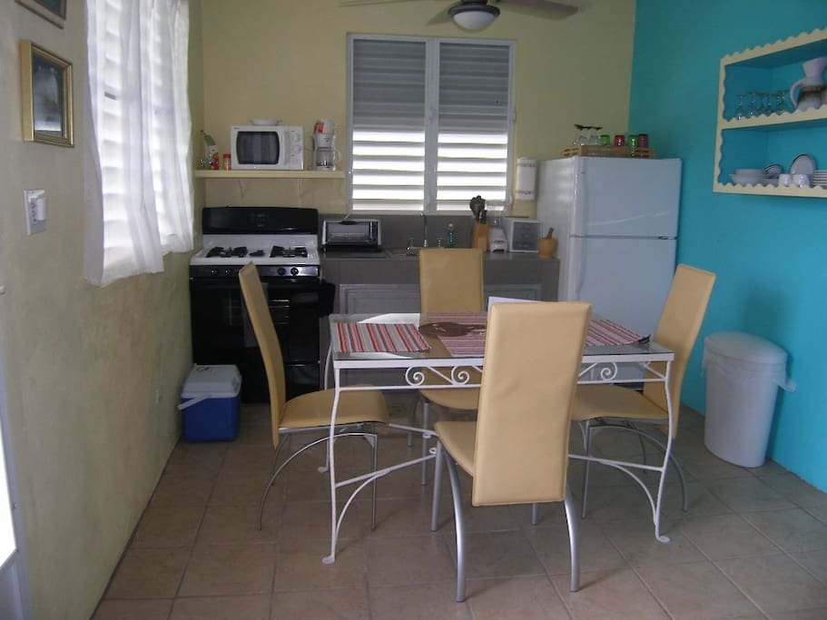 fully equipped kitchen and dinning area