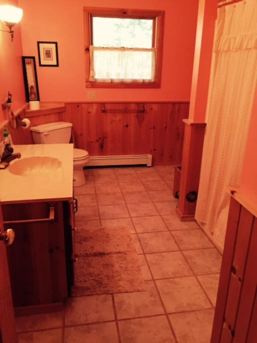 One of the two upstairs bathrooms with shower-