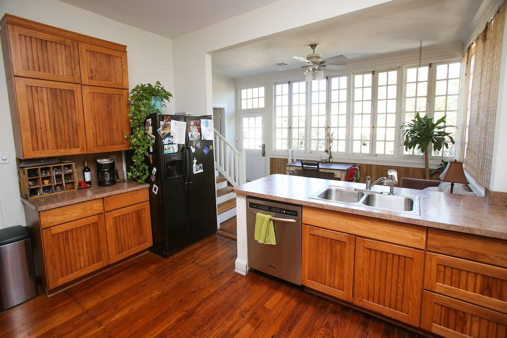 Kitchen and sun room.  Great spot for hanging out and eating breakfast