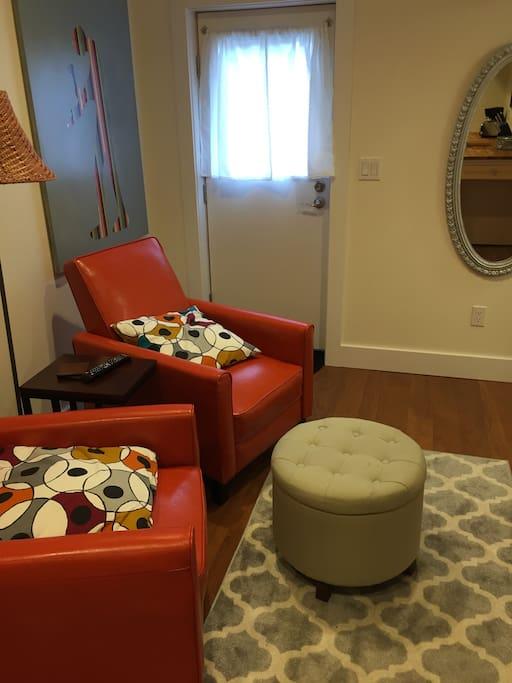 Door to ADU and cozy sitting/TV Area