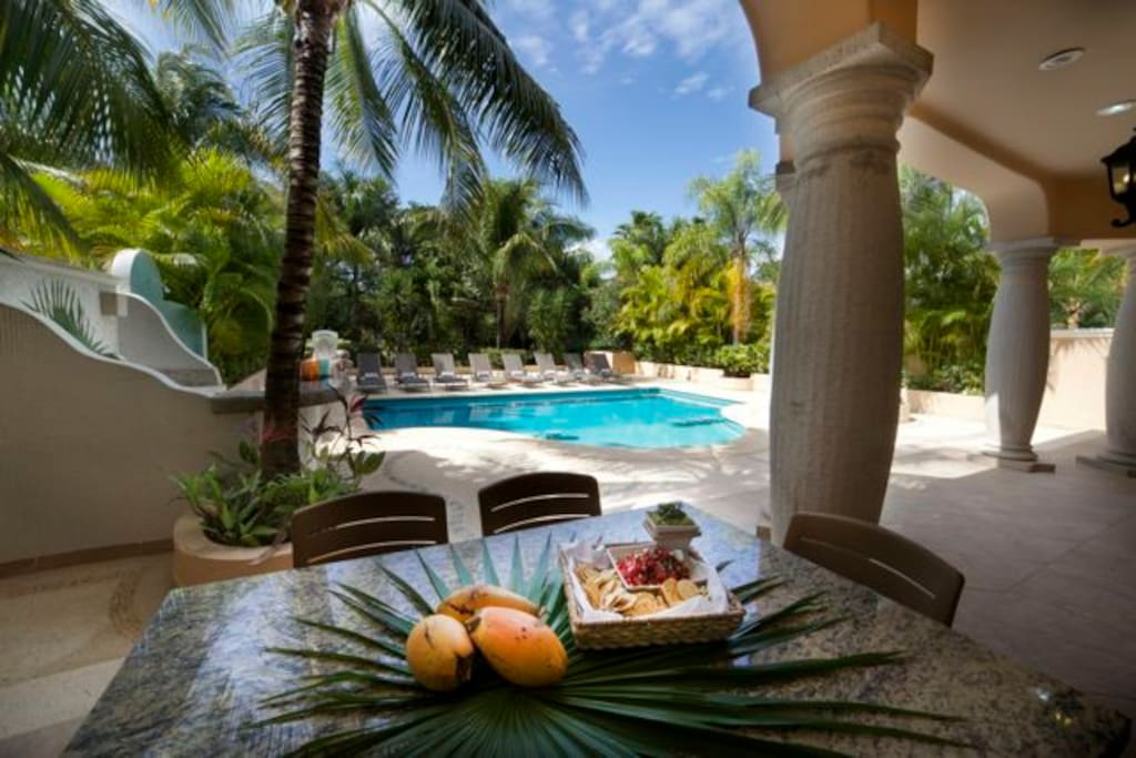 have breakfast outside on the covered patio