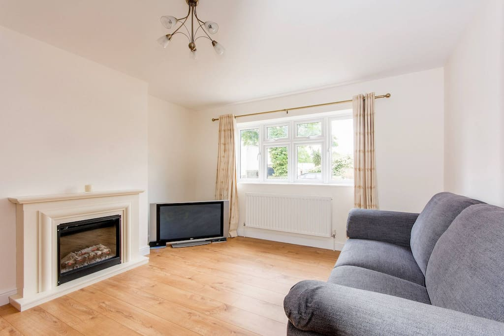 Two large sofas, electric fire place, 42 inch TV with BT Vision, Internet Access throughout property, Heating.