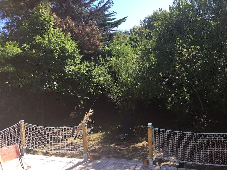Jardin entièrement clos et accès direct dans les bois aau fond à droite