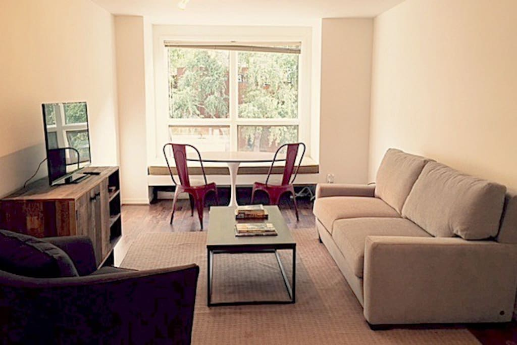 large window seat + dining table + chairs, new pull out queen sofa