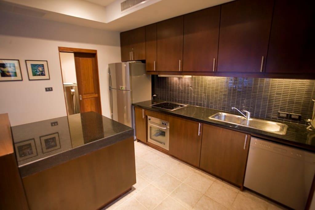 The kitchen and washroom