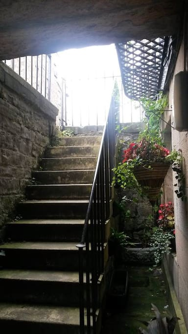 Old stone steps down to the artisan mews flats.