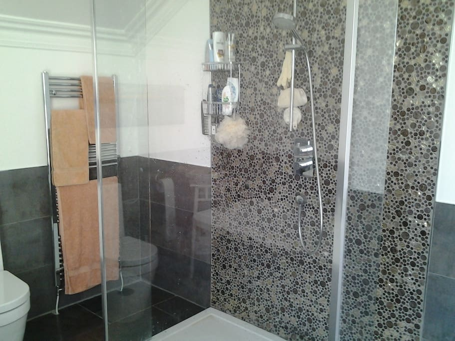 4 piece bathroom with large walk through shower