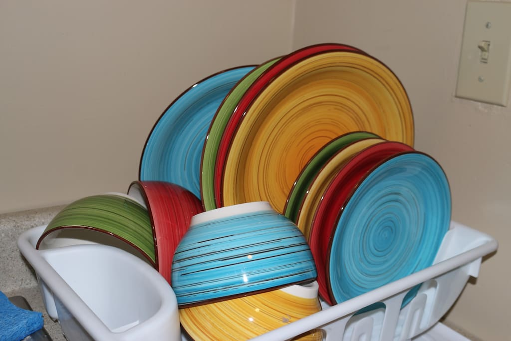 "A full set of dishes (large plates, small plates, large bowls) for days when you want to cook and eat off of ""real"" plates."