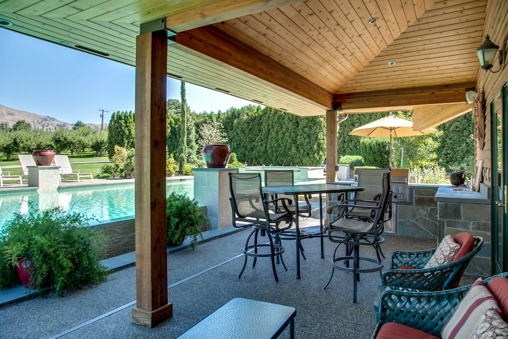 Covered Patio with high table and seating
