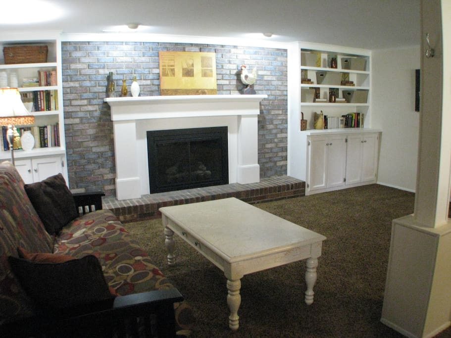 Decorative fireplace and built-in bookcases, loaded with books which you are welcome to read.