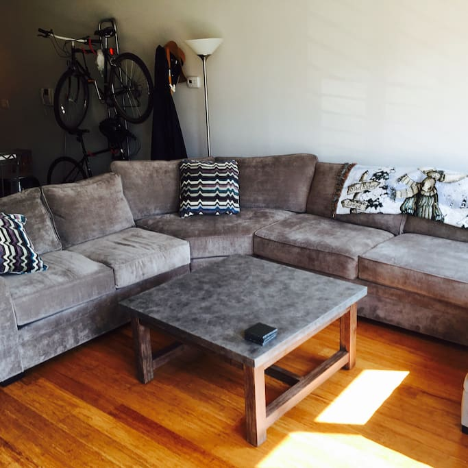 Sectional couch sleeps 2 comfortably. Air mattresses can be provided upon request.
