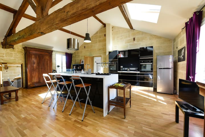 A fabulous well-equipped loft 80m2 - Bourg-sur-Gironde - Byt