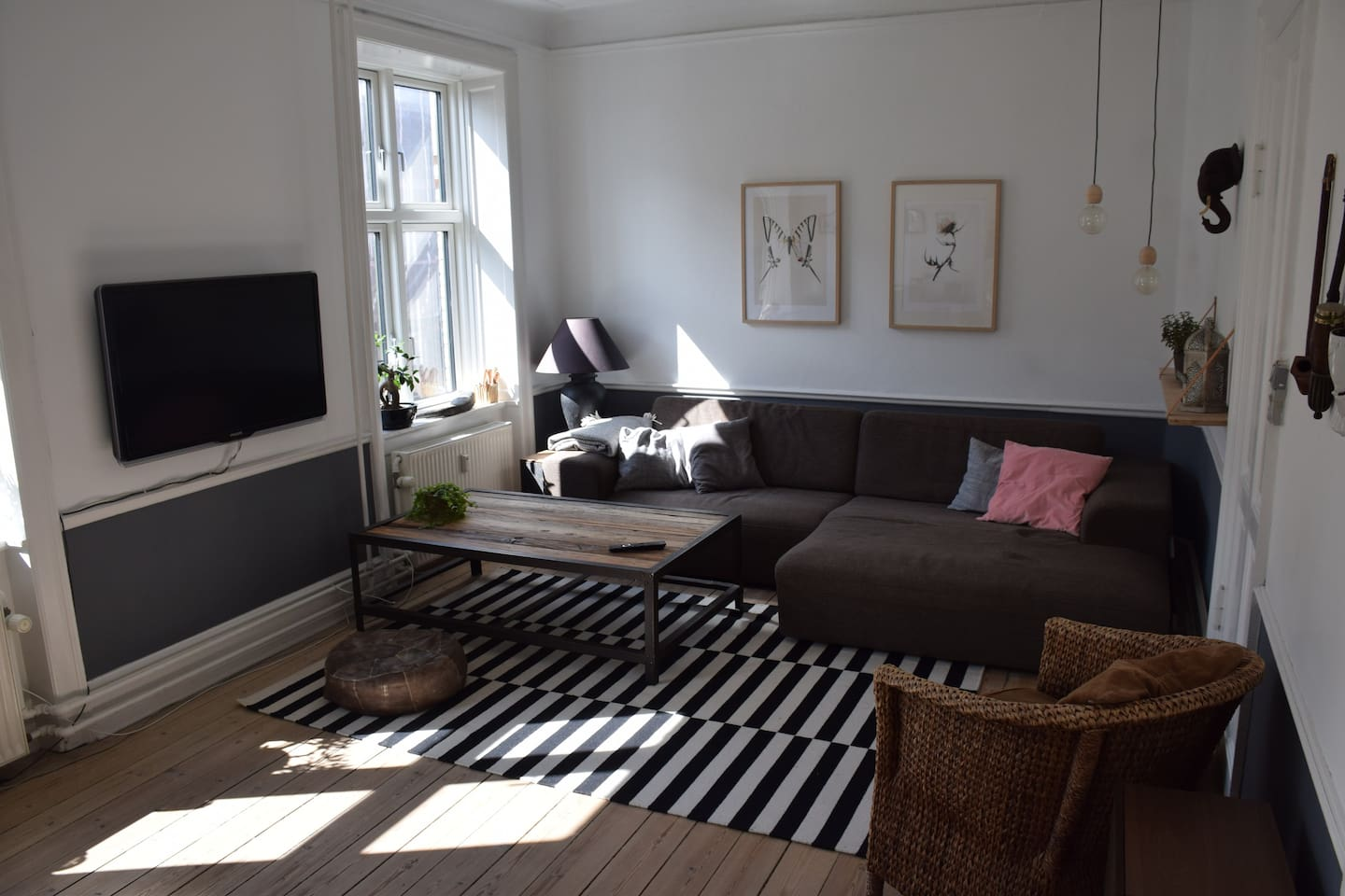Large sofa with room for a fifth person