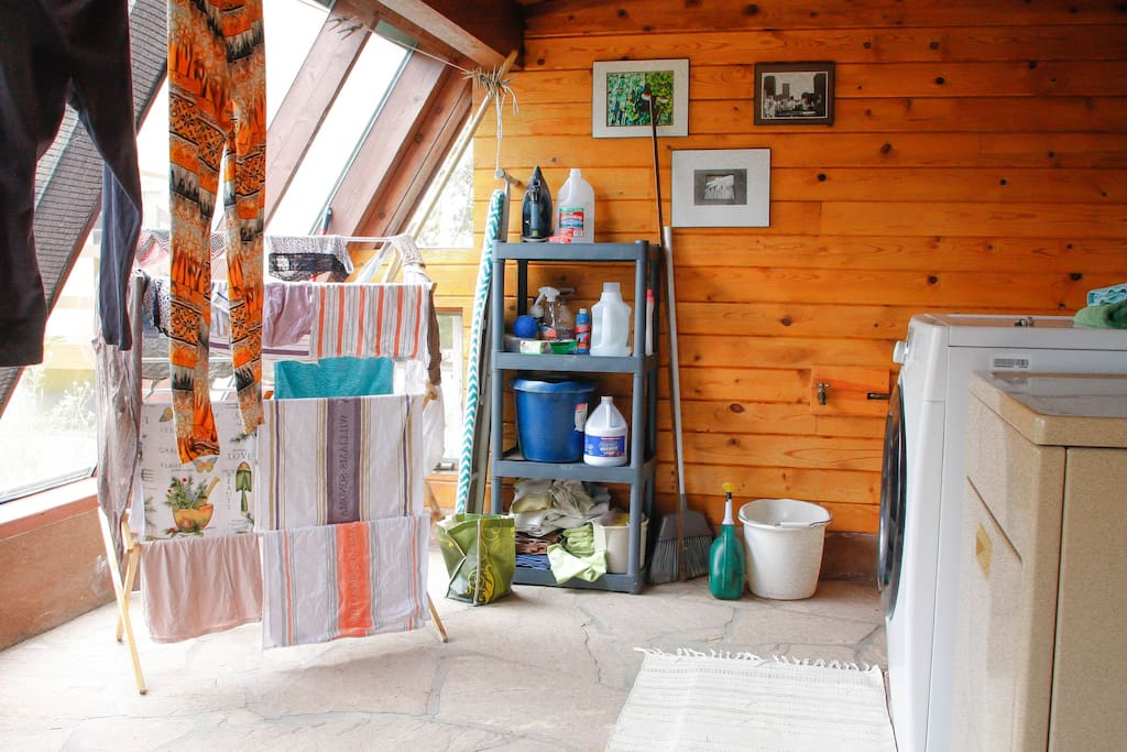 This is our downstairs laundry room/solar room space. Our dryer works, but is very loud and old. So we highly suggest using the natural resources we have here in New Mexico and putting to use the great eco-friendly benefits of having a solar room. On a wa