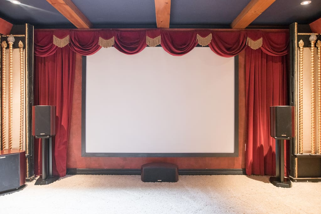 huge theater screen with surround sound