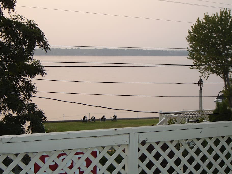 view of Lake Champlain from deck