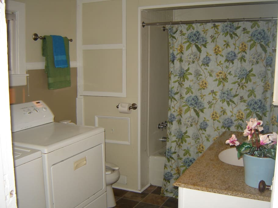 tub, shower and washer and dryer
