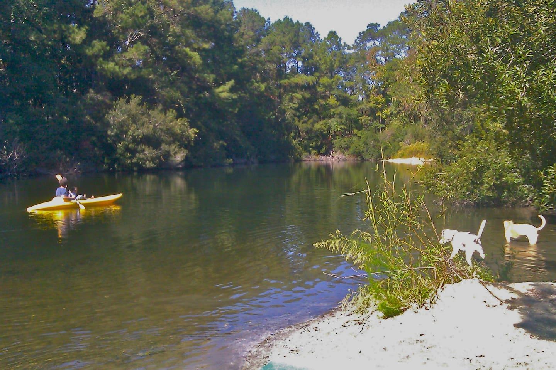3 acre spring fed pond & boats & kayaks for enjoying!