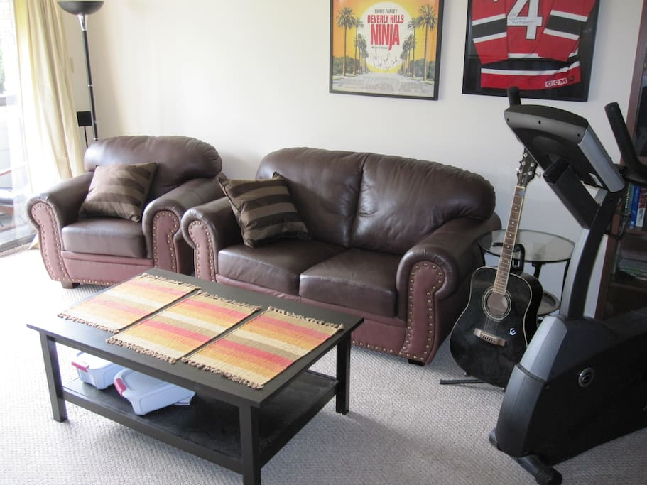 Comfy leather couch set & commercial grade stationary bike.