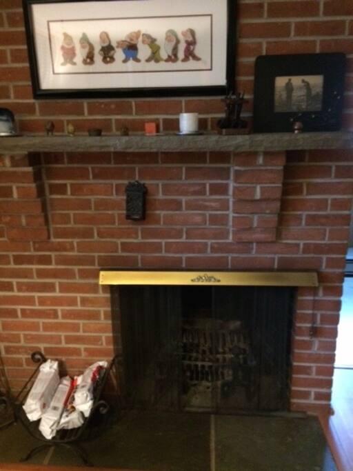 Wood-burning fireplace in livingroom