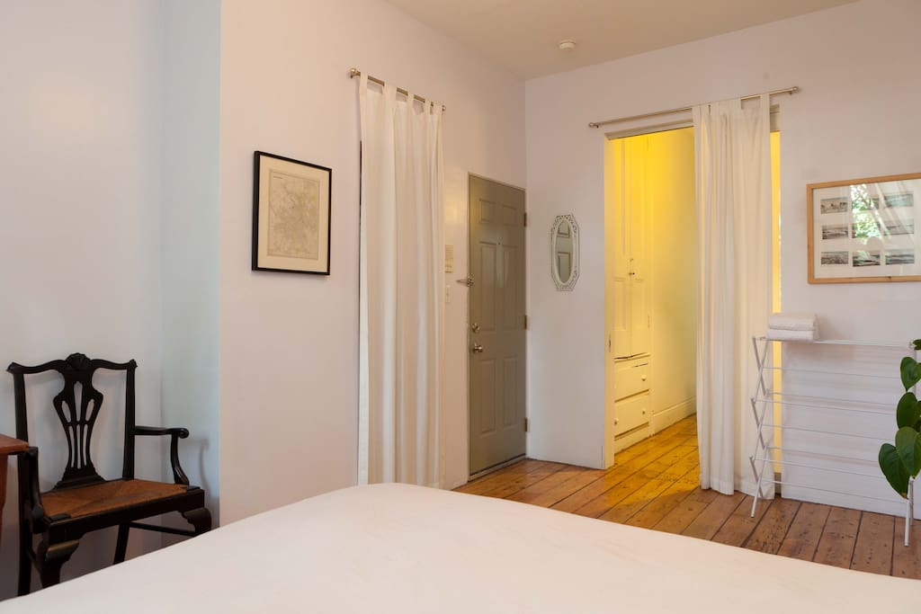 You have a sliding door with lock to rest of apartment, and your own separate entrance.