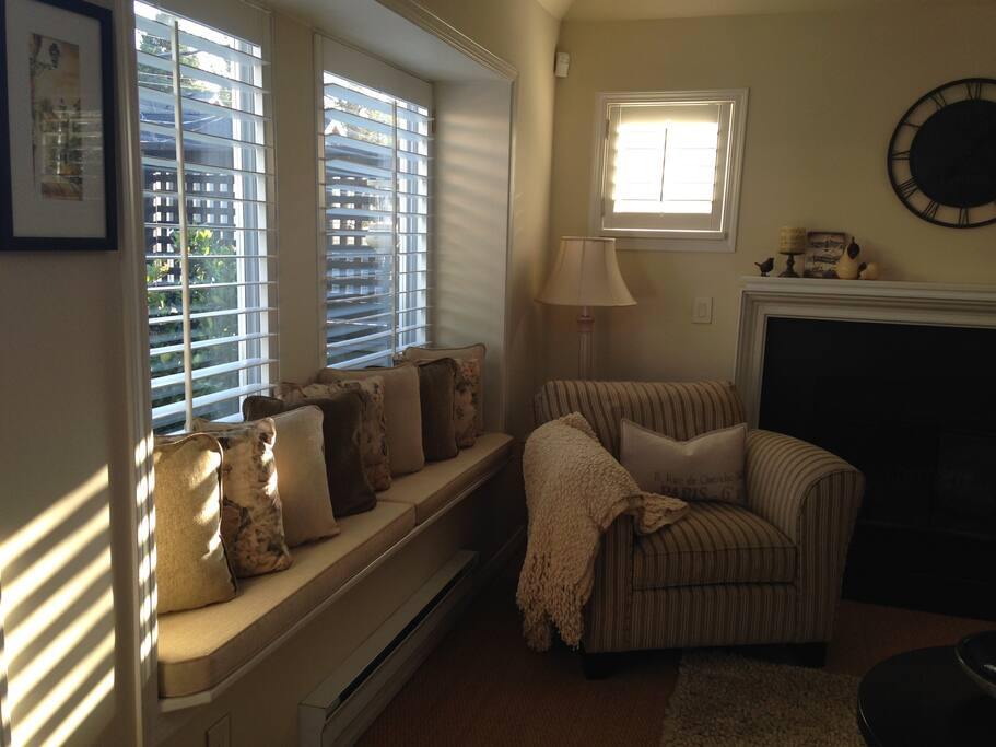 Sunlight through the shutters in the living room.
