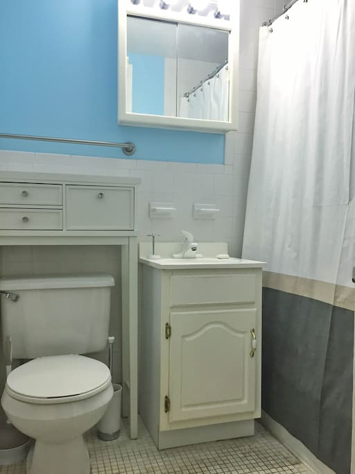 Full bathroom with bright lighting, ample storage, consistent supply of hot water.