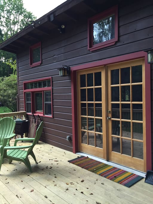 French doors open onto the deck