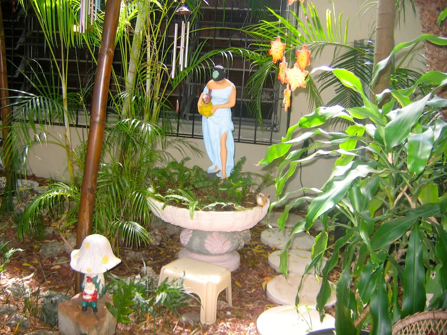 The tropical front entrance of our home.