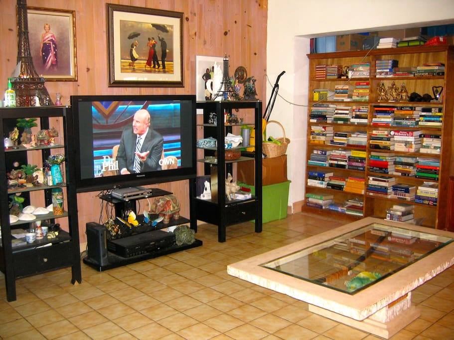 The living room and  t v .