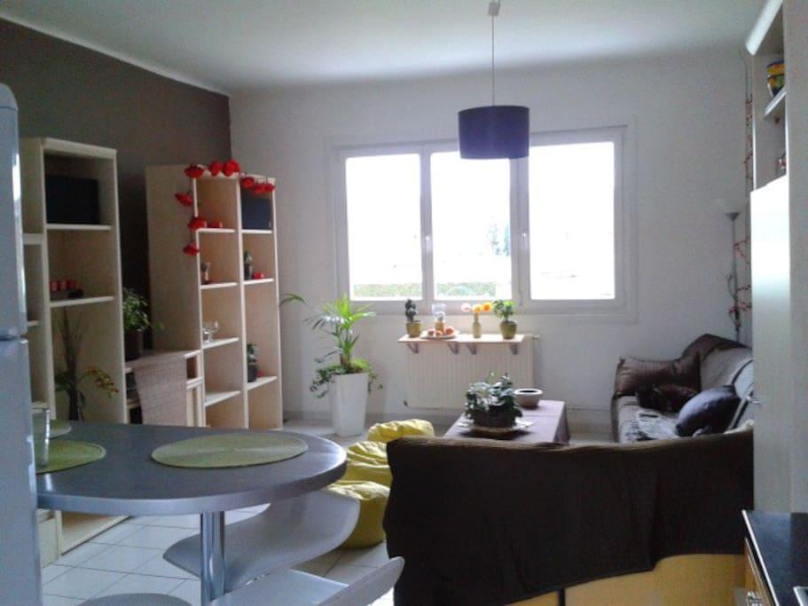 Un salon traversant lumineux et confortable