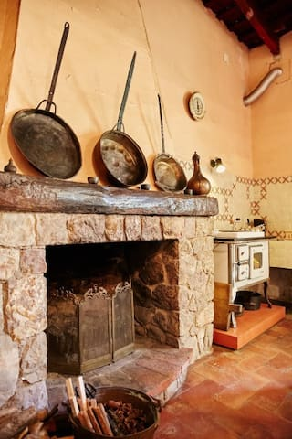 Downstairs kitchen fireplace, stove