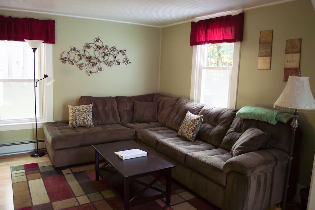 Plenty of seating in living room.